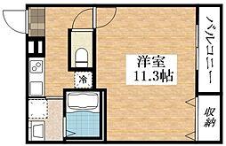 JR関西本線 東部市場前駅 徒歩10分の賃貸アパート 3階1Kの間取り