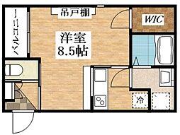 おおさか東線 新加美駅 徒歩3分の賃貸アパート 1階1Kの間取り