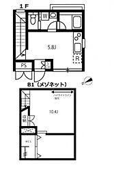 東京メトロ日比谷線 広尾駅 徒歩9分の賃貸マンション 1階1SLDKの間取り