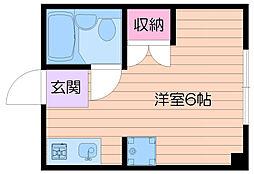 大阪モノレール彩都線 彩都西駅 徒歩22分の賃貸マンション 2階ワンルームの間取り