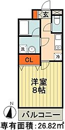 JR総武線 千葉駅 徒歩13分の賃貸マンション 2階1Kの間取り