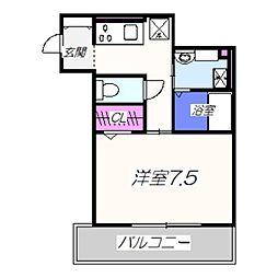 VILLA北花田D-room 1階1Kの間取り