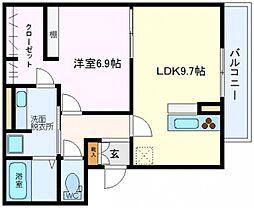 サニーガーデン鶴見 2階1LDKの間取り