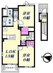 JR高崎線 北本駅 徒歩30分の賃貸アパート 2階2LDKの間取り