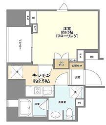 都営新宿線 岩本町駅 徒歩4分の賃貸マンション 3階1Kの間取り