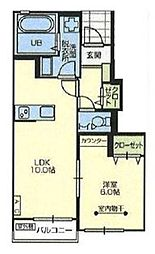 JR京浜東北・根岸線 さいたま新都心駅 4.5kmの賃貸アパート 1階1LDKの間取り