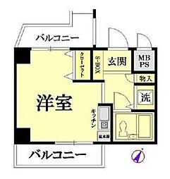 神奈川県横浜市鶴見区東寺尾4丁目の賃貸マンションの間取り
