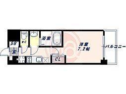Osaka Metro御堂筋線 昭和町駅 徒歩3分の賃貸マンション 8階1Kの間取り