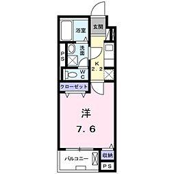 JR武蔵野線 三郷駅 徒歩4分の賃貸マンション 1階1Kの間取り