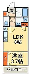 JR総武線 船橋駅 徒歩15分の賃貸マンション 2階1LDKの間取り