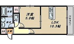 affetto浅香[1階]の間取り