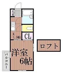 東京都品川区東大井1丁目の賃貸アパートの間取り