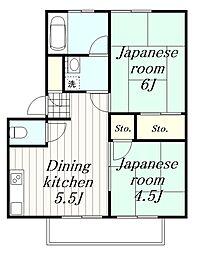 神奈川県横浜市旭区金が谷1の賃貸アパートの間取り