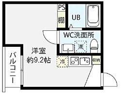 JR南武線 矢川駅 徒歩5分の賃貸アパート 2階ワンルームの間取り