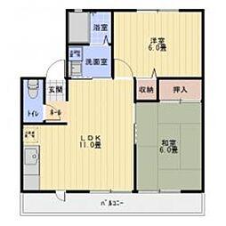 愛知県豊田市小坂本町1の賃貸アパートの間取り