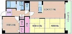 レスポワール都島[4階]の間取り