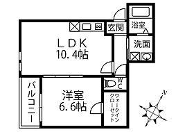 JR阪和線 鳳駅 徒歩9分の賃貸アパート 3階1LDKの間取り