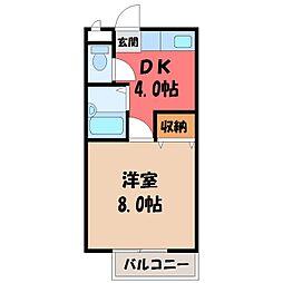 栃木県宇都宮市中今泉4丁目の賃貸アパートの間取り