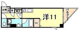 JR東海道・山陽本線 西宮駅 徒歩5分の賃貸マンション 5階ワンルームの間取り