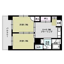 福岡県福岡市中央区渡辺通1丁目の賃貸マンションの間取り