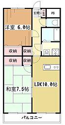 東京都東大和市立野2丁目の賃貸マンションの間取り