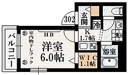 (仮称)ベルフォーレII 3階1Kの間取り