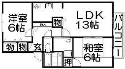 大阪府枚方市茄子作1丁目の賃貸アパートの間取り