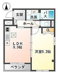 Osaka Metro御堂筋線 新金岡駅 徒歩15分の賃貸マンション 2階1LDKの間取り