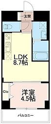 カーサクラルス 3階1LDKの間取り