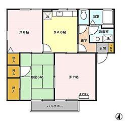 ロイヤルタウン程島B棟[2階]の間取り