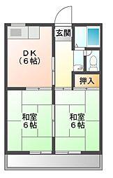 愛知県岡崎市赤渋町字下池の賃貸アパートの間取り