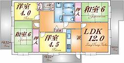 兵庫県神戸市長田区御屋敷通3丁目の賃貸マンションの間取り