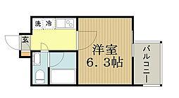TOKIO久米川タワー 8階1Kの間取り