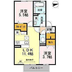 福岡県久留米市朝妻町の賃貸アパートの間取り