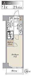 都営大江戸線 両国駅 徒歩8分の賃貸マンション 3階1Kの間取り