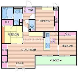 大阪府箕面市稲6丁目の賃貸アパートの間取り