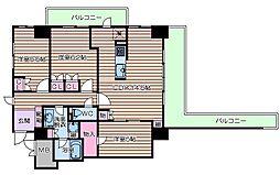 近鉄難波線 大阪上本町駅 徒歩5分の賃貸マンション 2階3LDKの間取り