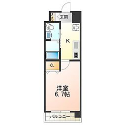 Marks西田辺 2階1Kの間取り