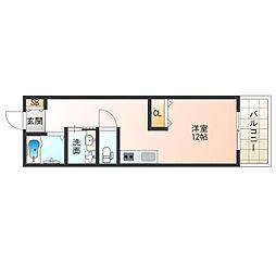 Osaka Metro四つ橋線 肥後橋駅 徒歩6分の賃貸マンション 3階ワンルームの間取り
