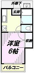 東京都八王子市谷野町の賃貸アパートの間取り