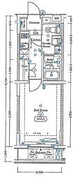 エスファルベ中野松が丘アネックス 2階1Kの間取り