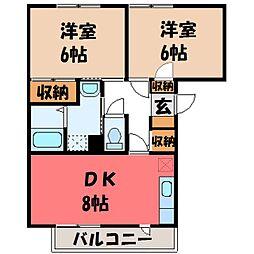 栃木県下都賀郡壬生町大字安塚の賃貸マンションの間取り