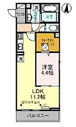 (仮)D-roomレイクタウン6丁目PJ 2階1LDKの間取り