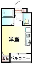 プレシャス鶴ヶ島 3階ワンルームの間取り