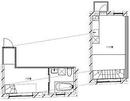 双葉町のアパートメント 3階1LDKの間取り