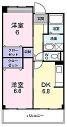 エアリーヒル 3階2DKの間取り