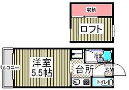 パピヨンII[203号室]の間取り