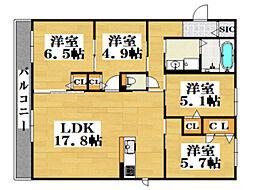 西鉄天神大牟田線 西鉄平尾駅 徒歩12分の賃貸アパート 2階4LDKの間取り