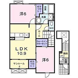 新潟県新潟市北区濁川1丁目の賃貸アパートの間取り