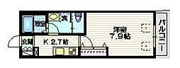 小田急小田原線 世田谷代田駅 徒歩6分の賃貸マンション 2階1Kの間取り